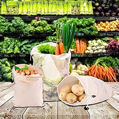 Reusable Produce Grocery Bags Eco Friendly Bags Reusable Shopping Bag for Fruit Vegetable Produce, Set of 9, Recyclable Washable