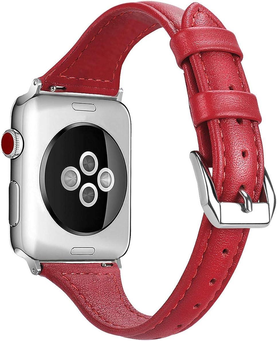 Correas de cuero compatibles con correa de reloj de 38 mm, 40 mm, 42 mm, 44 mm, elegante, estrecha, fina, correa de repuesto de cuero genuino para iWatch Series 6 Series 5/4/3/2/1 mujer