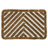 "Rubber-Cal 10-100-514 Rubber-Cal""Herringbone"" Outdoor Scraper - 18"" x 30"" Coir Boot Brush Scraper"
