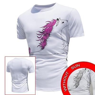 Creative Shirts,Men's Tops Shirt Encounter Sun Change Color Short Sleeve Casual T-Shirt Top Blouse