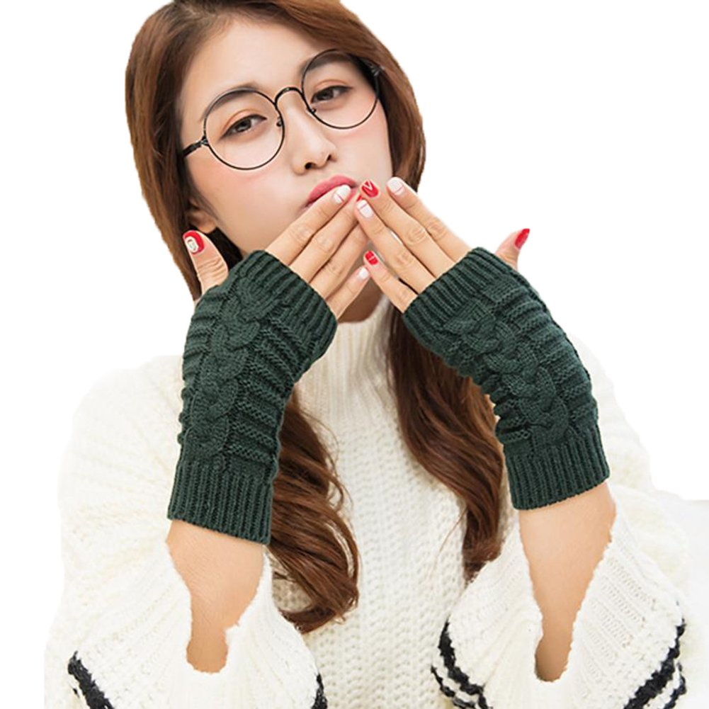 per inverno e autunno Nero guanti in maglia con foro per pollice manicotti da braccio 20/cm guanti senza dita da donna 20 cm Bigboba Cotone