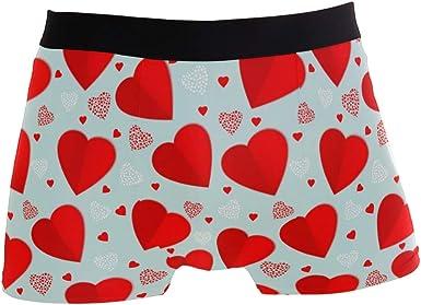 My Little Nest Mens Boxer Brief Red Hearts Short Leg Underwear XL