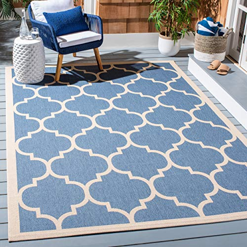 Safavieh Courtyard Collection CY6914-243 Blue and Beige Indoor/ Outdoor Area Rug (4' x 5'7