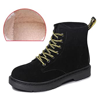 women ankle short martin boots leather suede plush flat heel winter warm casual shoelace snow cotton shoes . brown . 35 oIpcI1neI