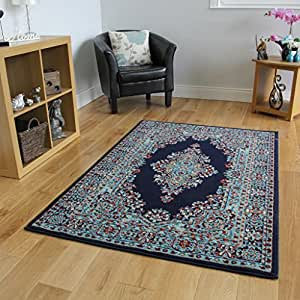 Navy blue vintage style design living room rug for Living room rugs 8 by 10