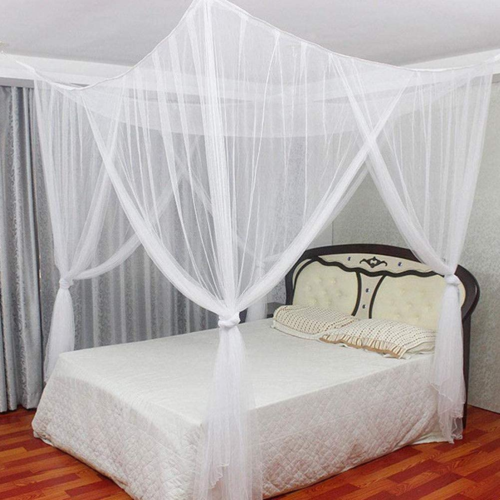 - Mosquito Net For Double Bed, 4 Corner Post Elegant Mosquito Net