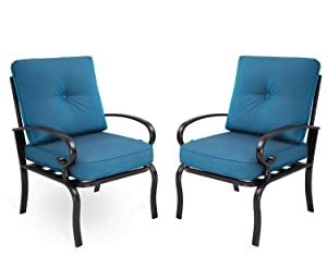 Incbruce Outdoor Furniture Bistro Set Dining Chairs Set of 2 Patio Club Chairs Outdoor Wrought Iron Furniture Set, a Pair of Garden Dining Seating Chair, All-Weather Patio Furniture, Peacock Blue