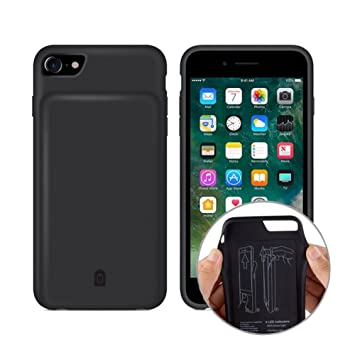 YFish iPhone 6 6s 7 8 Funda Batería, 4500mAh Batería Externa Recargable 2 en 1 Carcasa de móvil – 4.7 Pulgadas Negro