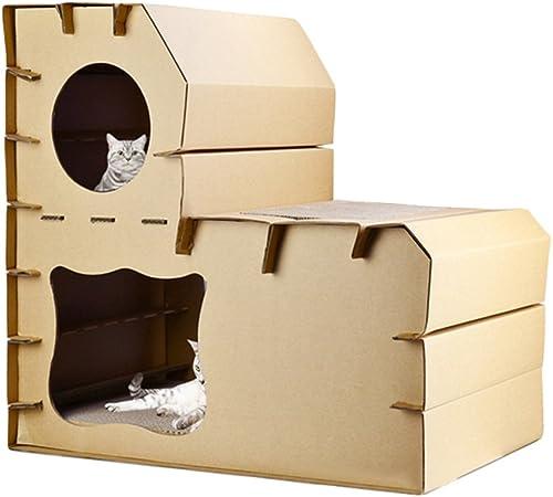 JEELINBORE Divertido Rascador Salón Cama Rascadores para Gatos Jaulas Casita Casa Cajas de cartón Corrugado para Mascota (Estilo # 3, 56.5x41.5x56cm): Amazon.es: Hogar