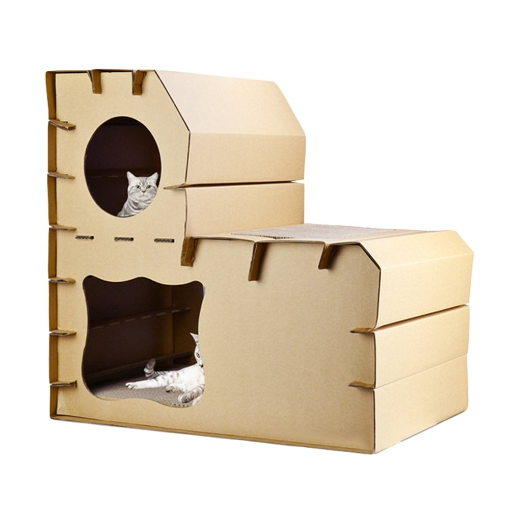 JEELINBORE Divertido Rascador Sal/ón Cama Rascadores para Gatos Jaulas Casita Casa Cajas de cart/ón Corrugado para Mascota Estilo # 2, 51x32x42cm