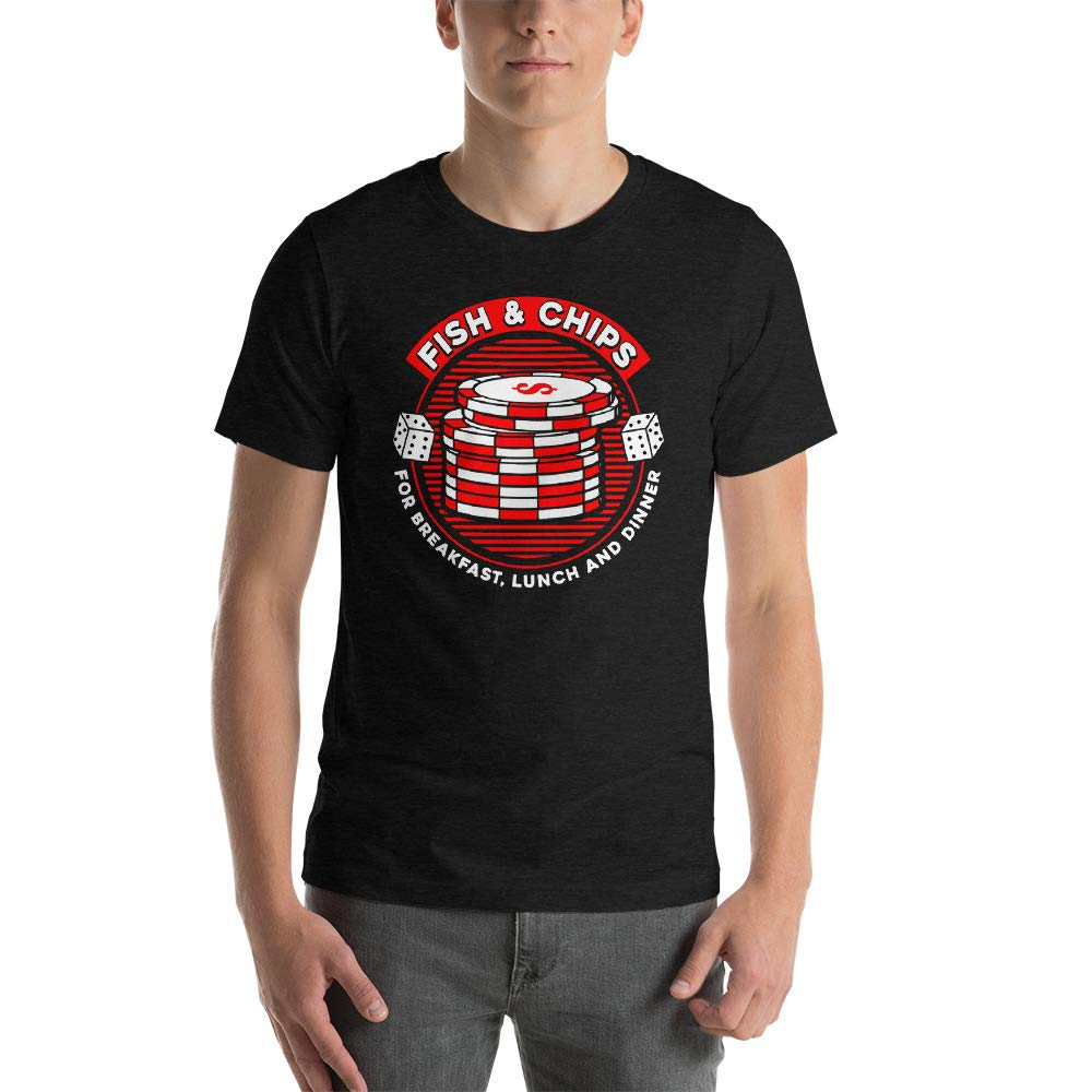 Alpha5StarDeals Fish and Chips Poker Humor Short-Sleeve Unisex T-Shirt