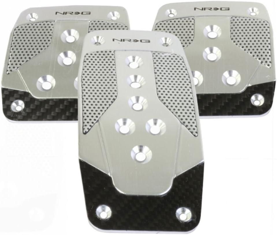 NRG Innovations PDL-200BK Brushed Black Aluminum Sport Pedal with Black Rubber Inserts MT
