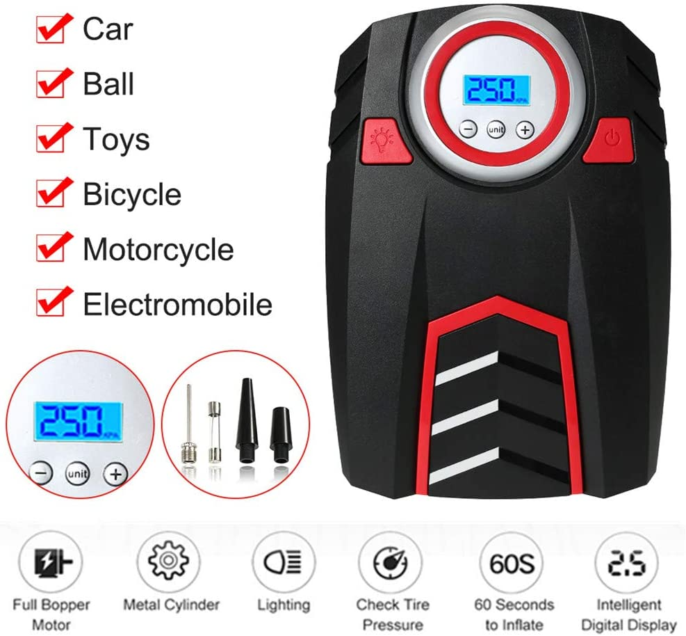VISLONE Tire Inflator, Car Air Compressor Portable DC 12V Auto Tire Pump up to 150 PSI with LED Display for Motorcycle Bicycle Balls Inflatable Toys