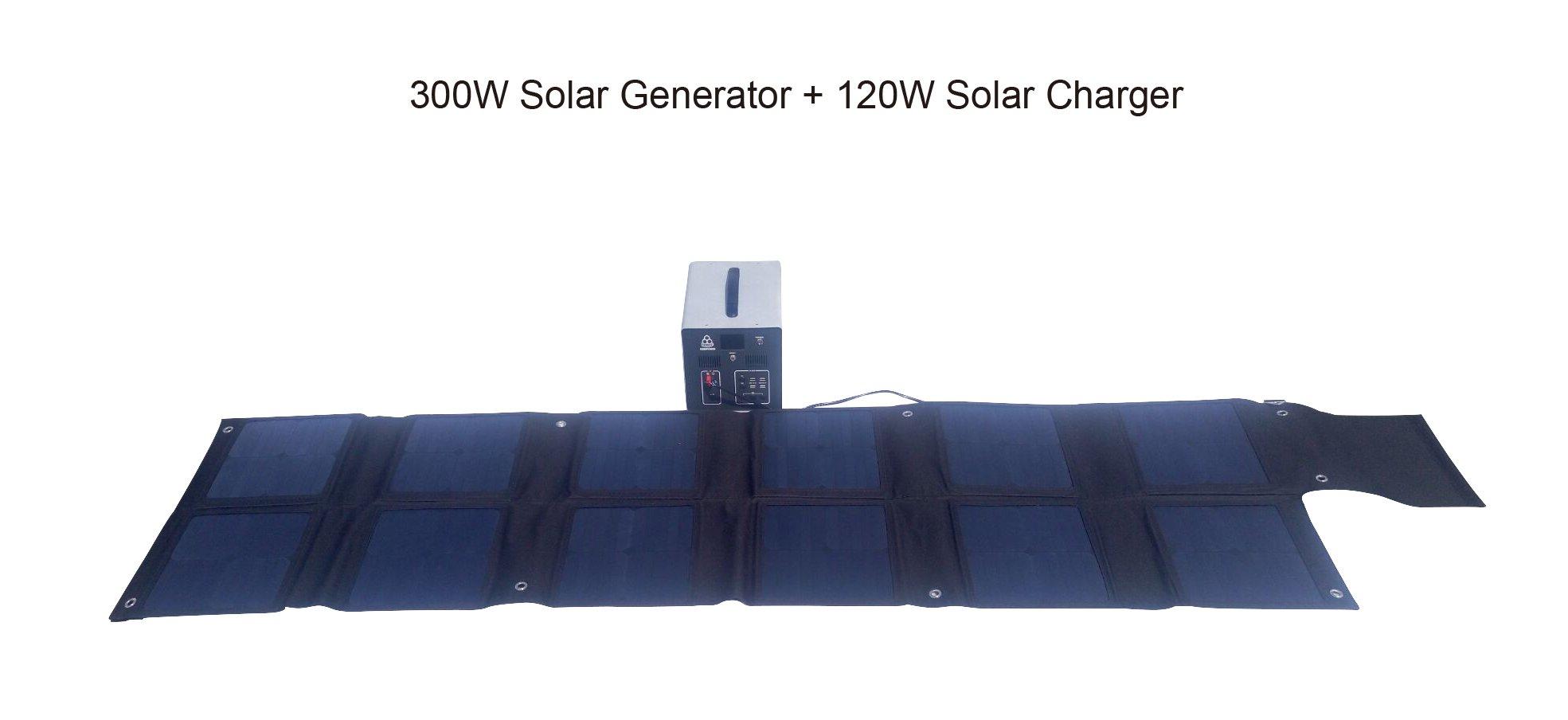 MEGASOLAR 300W Solar Generator Solar System with 288Wh LiFePO4 battery, Solar & AC Input, 300w 110v AC Inverter 4 USB 2 QC3.0 312v 15v 20v DC output, TFT Display, charged by Solar Charger Solar Panel