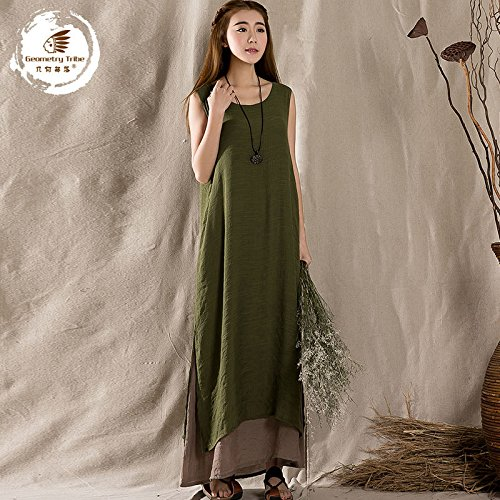 Femme Vintage Cresay Deux Pièces Faux Coton Robe Lingerie Longue Vert Style Folk qqOzRg