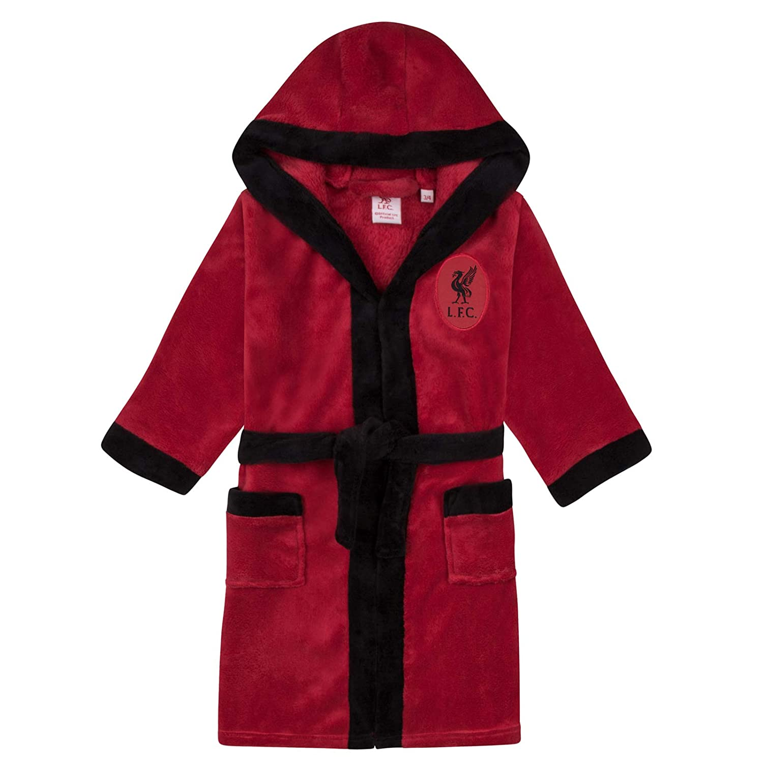 Liverpool FC Official Football Gift Boys Hooded Fleece Dressing Gown Robe