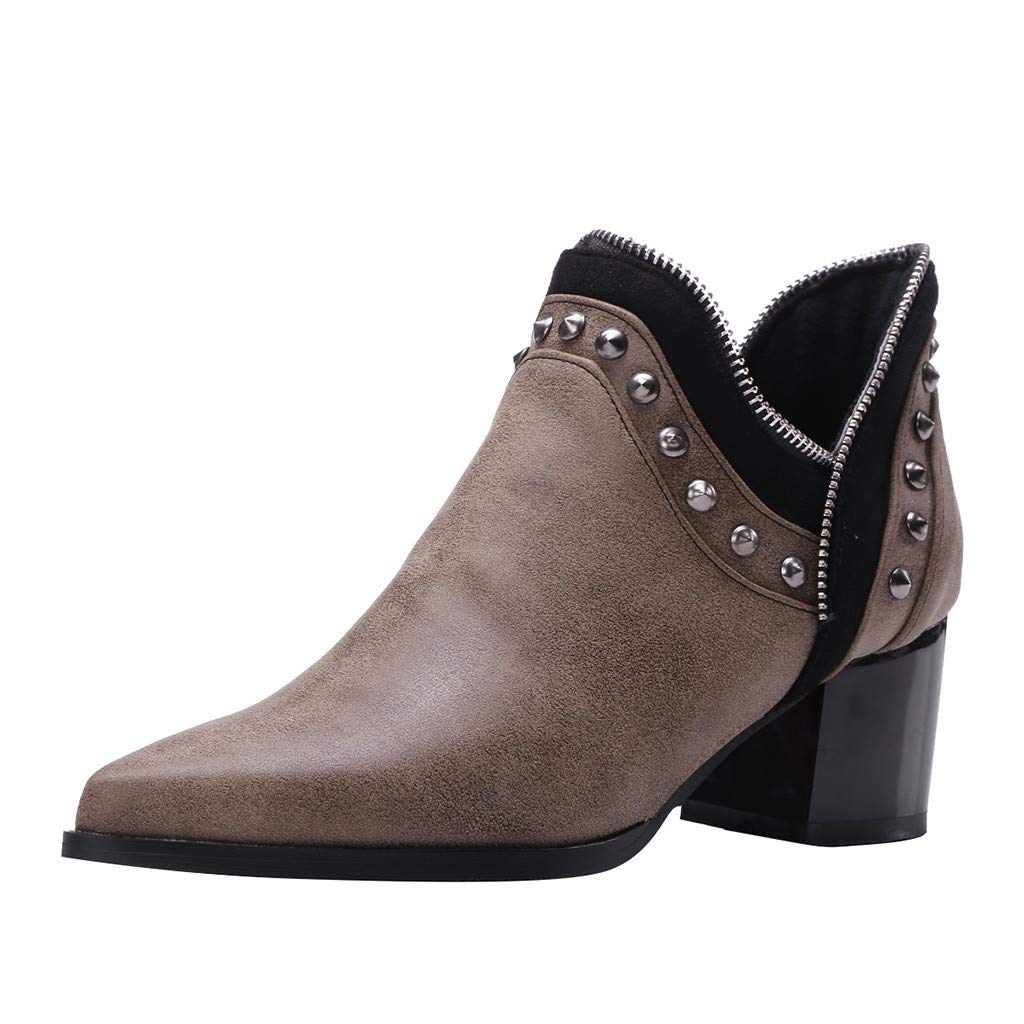 Hotkey Womens Ankle Boots, Pointed Toe Short Boots Western Street Cool Ankle Bootie Thick Leather Short Boots Brown by Hotkey