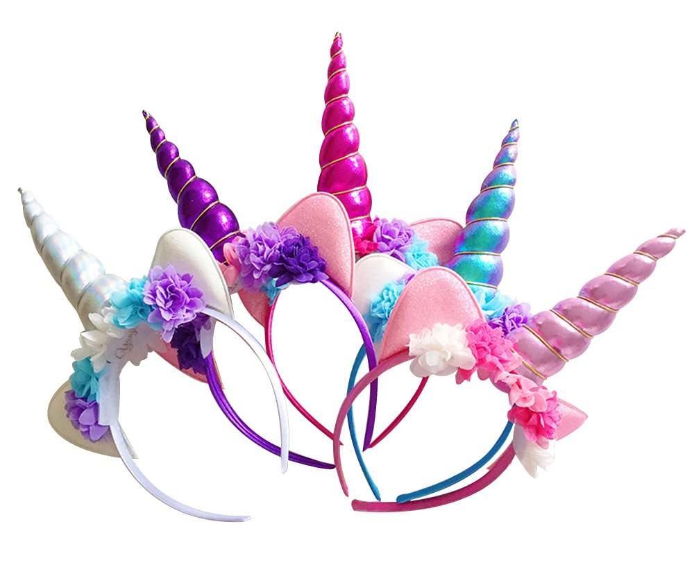 MarJunSep Unicorn Horn Headband,5 Pack Shiny Unicorn Horn Headdress Ears Flower Headband for Halloween Party Birthday Cosplay Costume