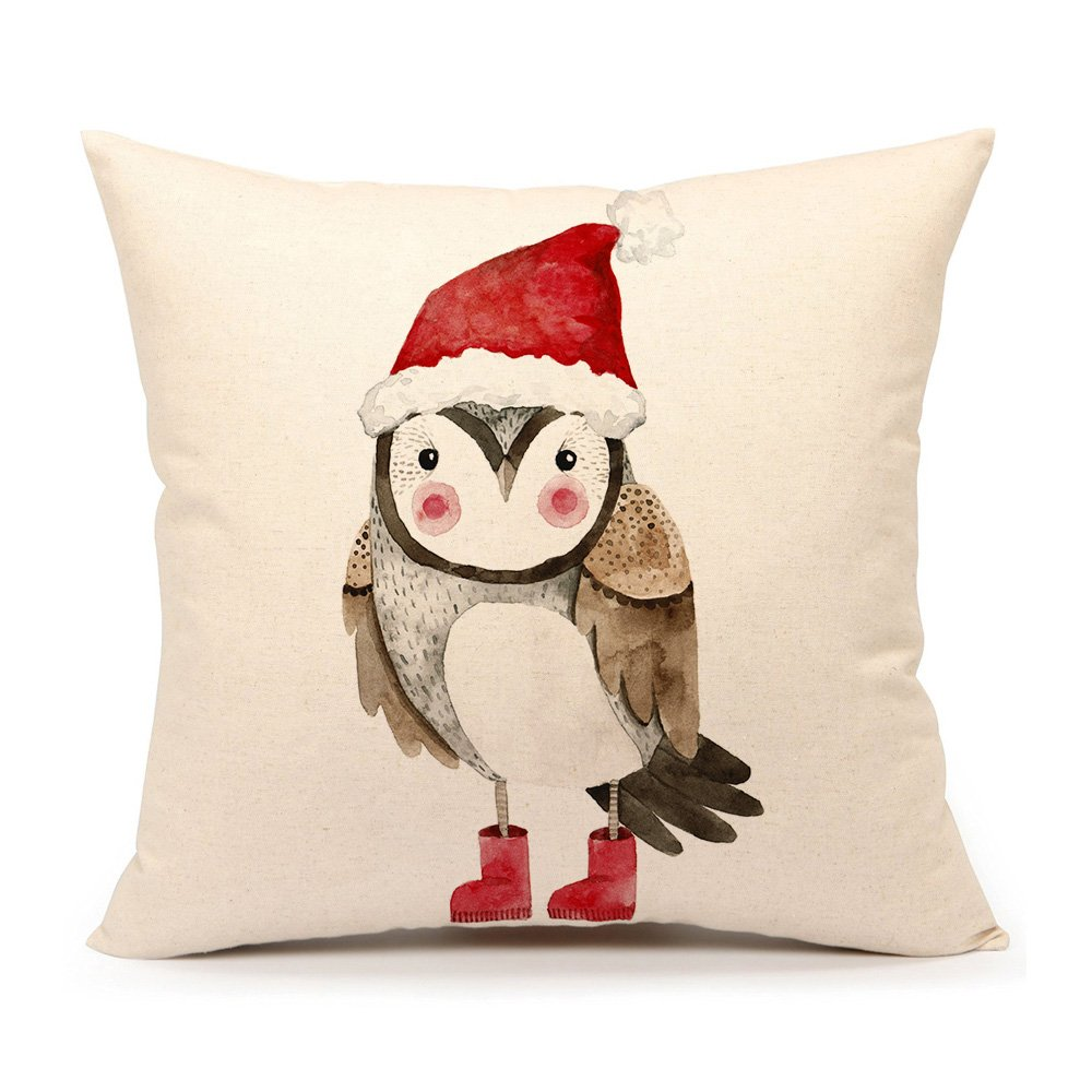 Darling Christmas owl with rosy cheeks, Santa hat, and red boots on a festive pillow cover for your holiday decorating! #christmasdecor #pillow #owl #redboots