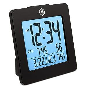 Marathon CL030050BK Digital Alarm Clock with Day, Date, Temperature and Backlight. Color-Black