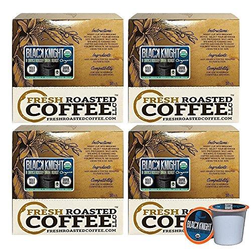 Black Coffee Blend - Fresh Roasted Coffee LLC, Organic Black Knight Coffee Pods, Artisan Blend, Fair Trade, USDA Organic, Dark Roast, Capsules Compatible with 1.0 & 2.0 Single-Serve Brewers, 72 Count