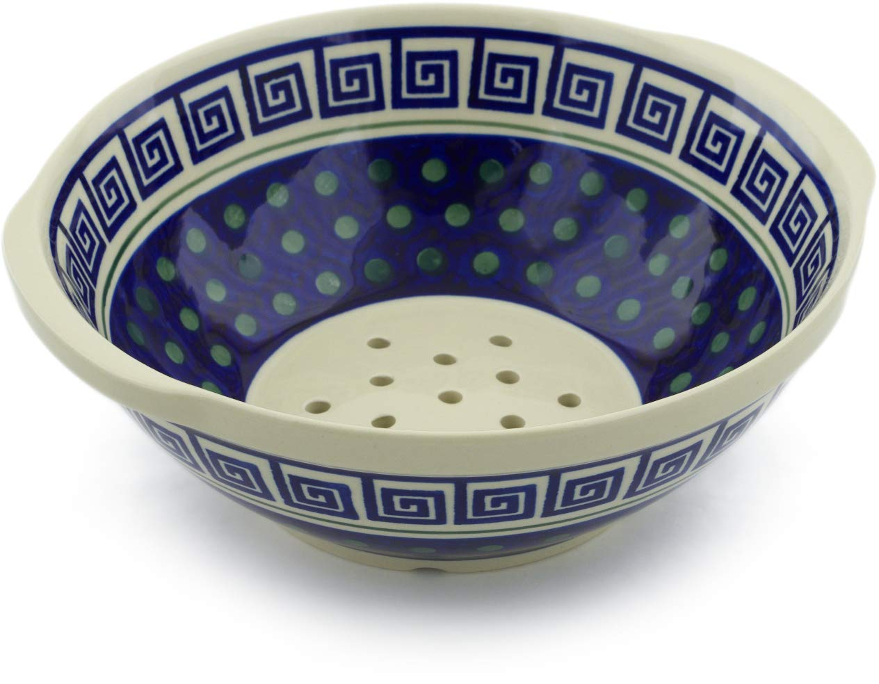 Polish Pottery 10-inch Colander (Greek Key Theme) + Certificate of Authenticity