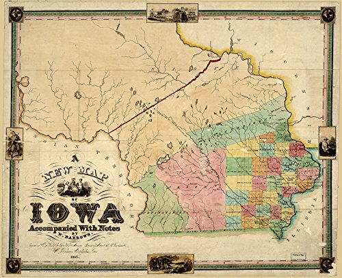 - 1845 map A New map of Iowa : accompanied with Notes by W. Barrows|Size 20x24 - Ready to Frame| Indians of North America|Iowa|