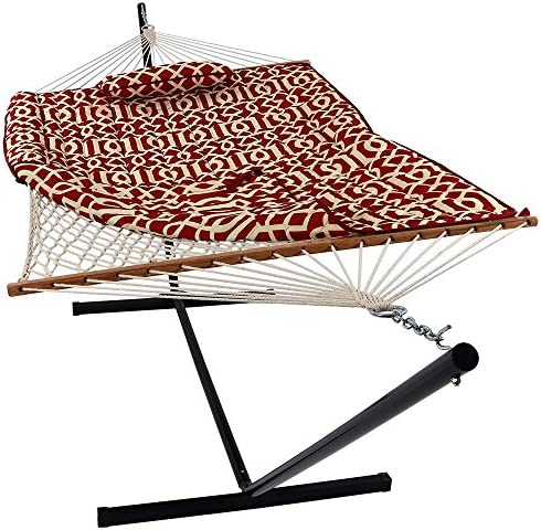 Double Hammock w Foldable Bar Detachable Pillow, Durable Easy to Maintain Fabric,w Convenient Carrying Bag, Curved Bar Design Ensures Comfort and Safety