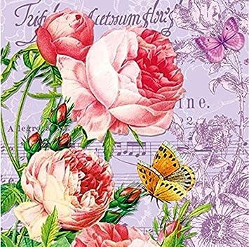 20 Cocktail Servietten Rosen Blumen Geburtstag Vintage Blumenmotiv