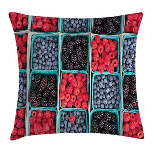Fruits Throw Pillow Cushion Cover by Lunarable, Groceries Strawberries Raspberries and Berries Baskets Farmers Market, Decorative Square Accent Pillow Case, 26 X 26 Inches, Scarlet Slate Blue Maroon