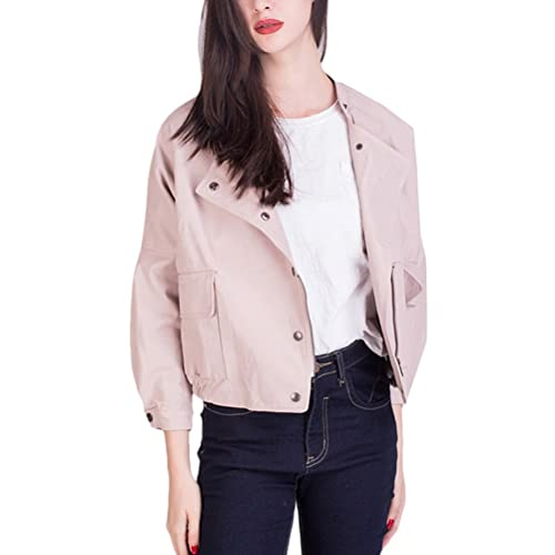 Zhhlinyuan Chaqueta excelente Vintage PU Leather Long Sleeve Jackets Ladies Locomotive Short Style Z...