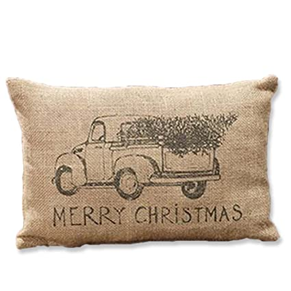 burlap truck merry christmas pillow tree cute gift idea decor decoration