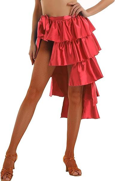 ranrann Falda de Baile Latino para Mujer Falda de Danza Tango ...