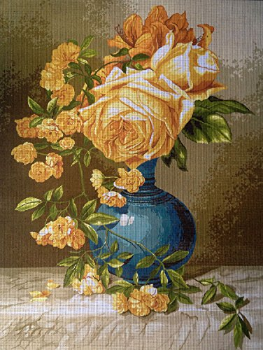 (Hudemas Needlepoint Kit Yellow Roses 15.7