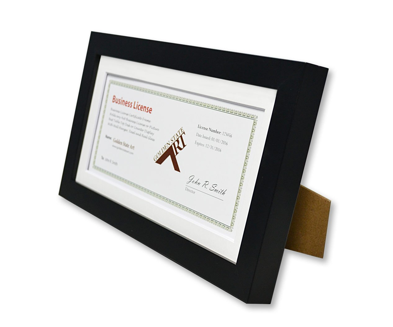 Golden State Art 5x10 Wood Frame for 4x9 Business License Certificate with White Mat & Table-top Display, Black by Golden State Art (Image #2)