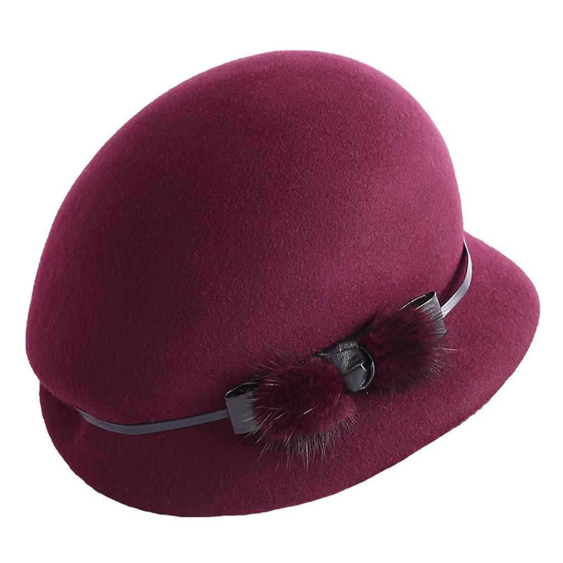 d3b3428b7d141 TTjII Womens hat With flower Bucket Bell Shaped Cap 1920s Vintage Wool Felt  Cloche Bucket Bowler Hat Winter Cocktail Beanie Cap Kentucky Derby Church  ...