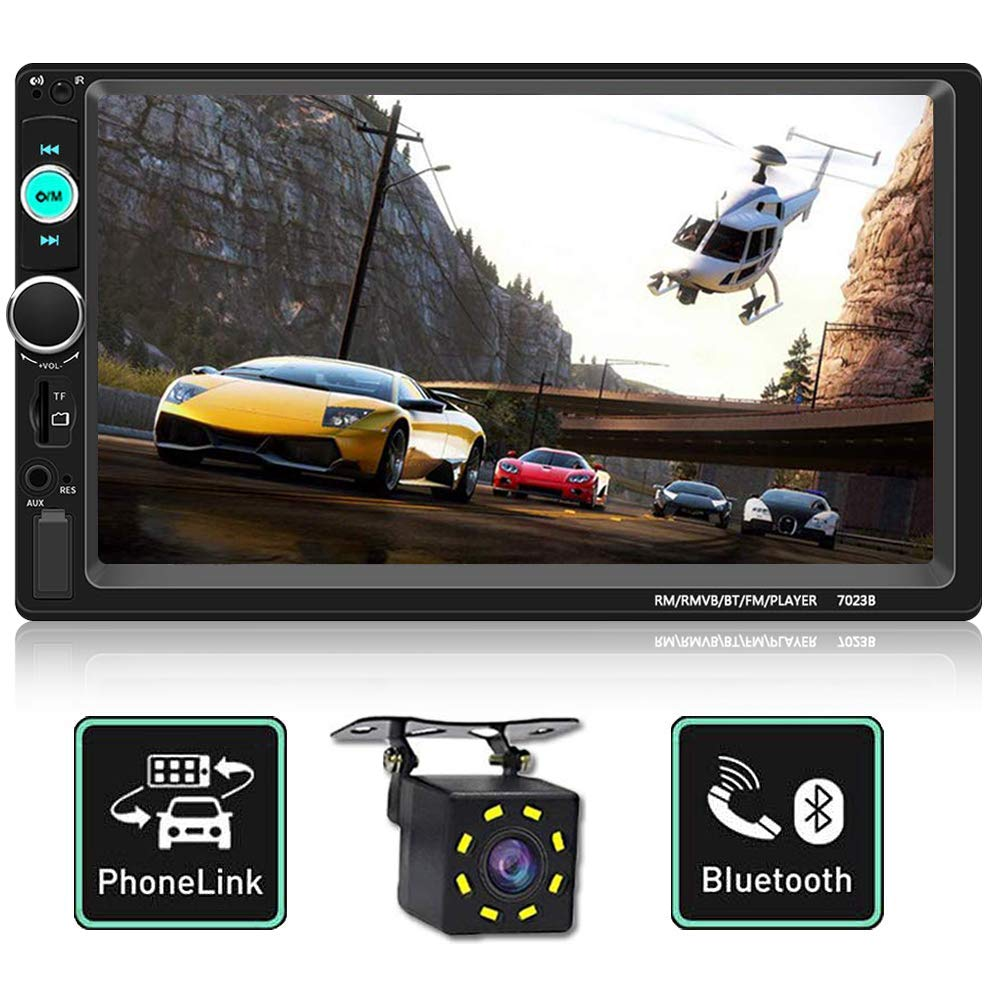 Double Din Car Stereo,Upgraded Version 7 Inch Touch Screen Car MP5 Player Support Backup Rear View Camera FM Radio Car Audio with Hands-Free Mirror Link by HaoXuan DianZi