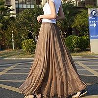 gloednApple Chiffon Long Dresses, Summer Women Long Skirts Bohemian Shinning Casual Beach Dress (Coffee)