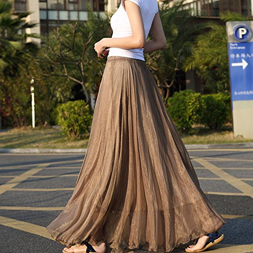 710202cf7 Amazon.com: gloednApple Chiffon Long Dresses, Summer Women Long Skirts  Bohemian Shinning Casual Beach Dress (Coffee): Home & Kitchen