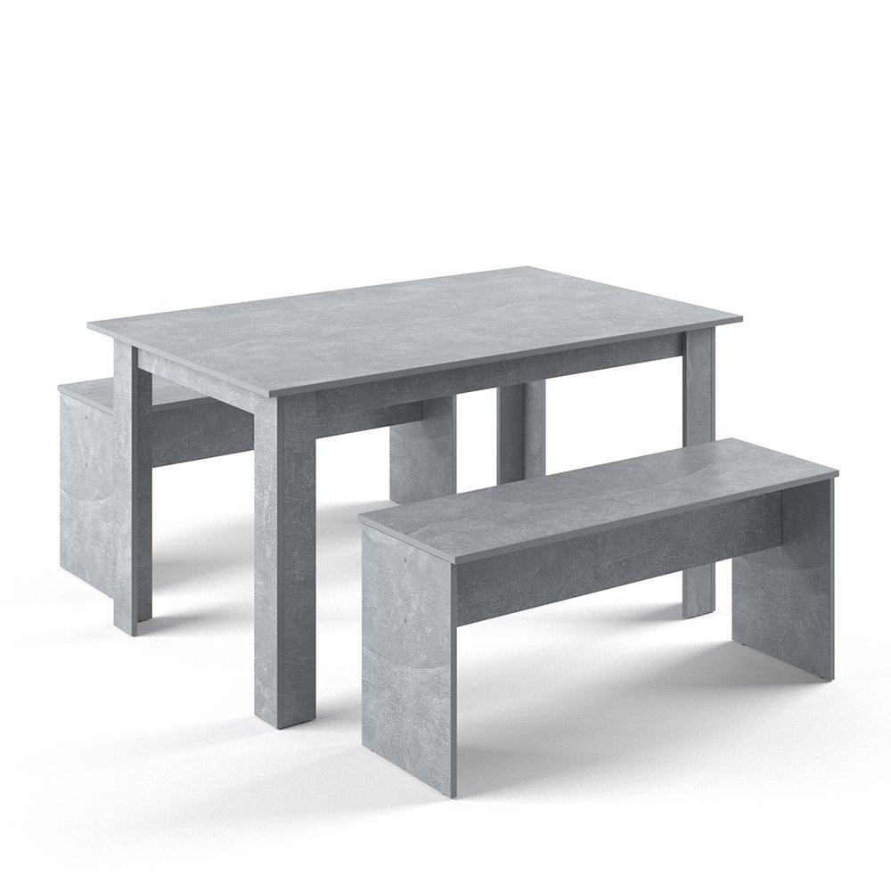 VICCO Tischgruppe 140 x 90 cm - 4 Personen - Esszimmer Esstisch Küche Sitzgruppe Tisch Bank - Bänke flexibel verstaubar (Beton)