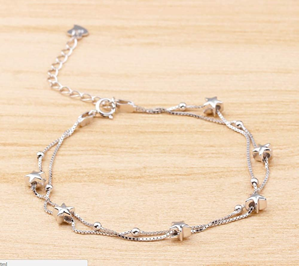 ROSE CY RC Women Jewelry White Gold Plated 925 Silver Simple Star Double Chain Anklets Gift for Women Girls