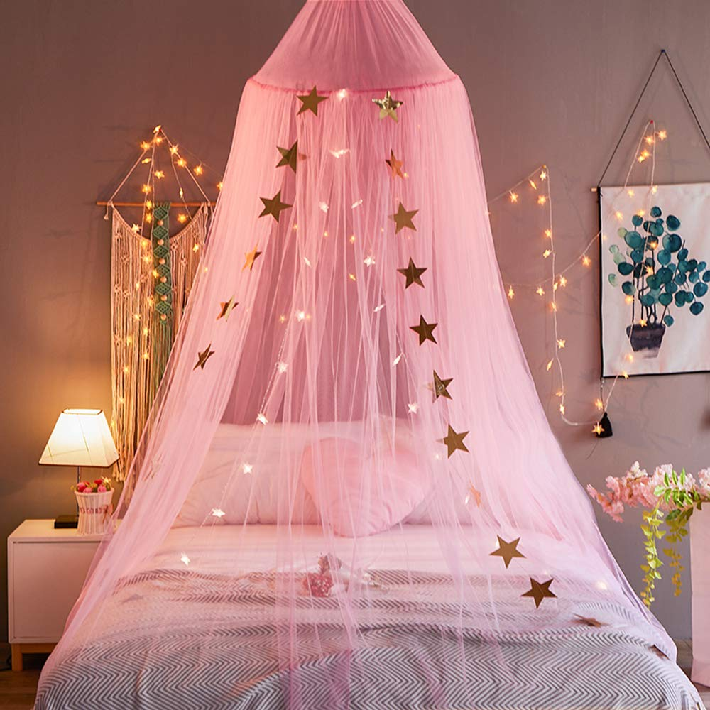 the best attitude authentic official Mengersi Bed Canopy Curtains Net Stars for Girls Boys Adults Playing Games  House Bedroom Decoration(Pink)