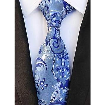 WOXHY Corbata Nuevo diseño Floral Azul Claro Corbata Blanca 8 cm ...