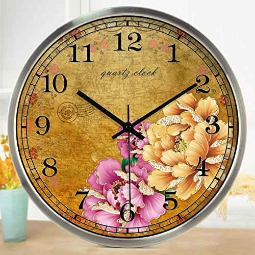 (TNKML Large Indoor Decorative Wall Clock Quartz Clock Peony Retro Art Restaurant Western Restaurant Creative Clock Country Mute Clock 83, 14 Inches, Silver Metal Frame)
