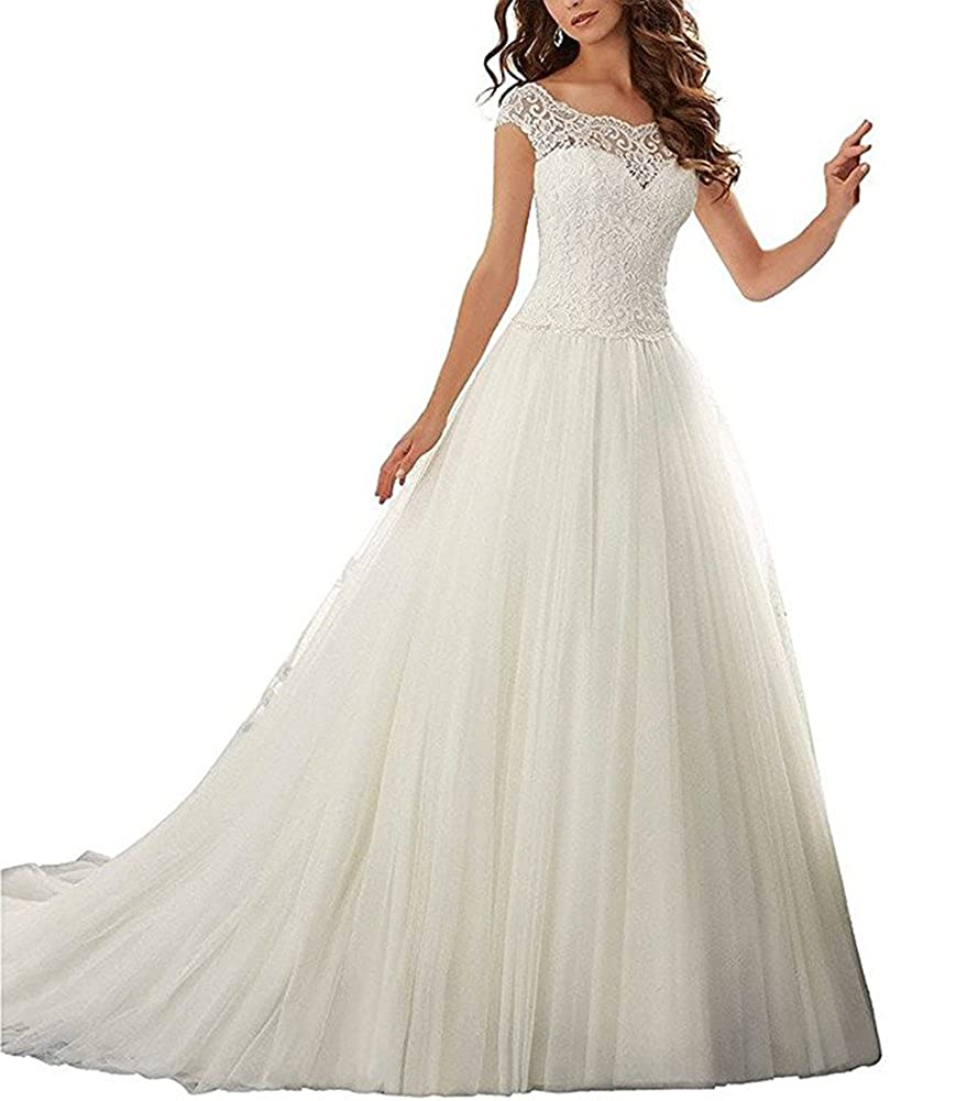 Firose Simple Long A Line Cap Sleeve Train Lace Wedding Dresses