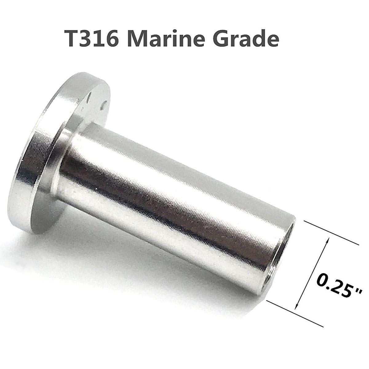 Cikuso Stainless Steel Protector Sleeves for 1//8 inch Cable Railing DIY Balustrade T316 Marine Grade 24 Pack Wood Posts