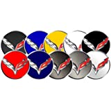 2014-15 Corvette C7 Stingray Chrome Black Gray Wheel Hub Center Cap Decal Set - RED