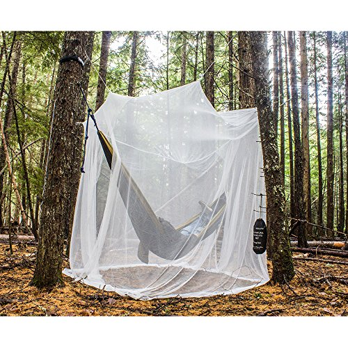 Price comparison product image Ultra Large Mosquito Net and Insect Repellent by MEKKAPRO | Large Two Openings Netting Curtains | Prevent Malaria Zika West Nile Viruses | Camping, Bedding, Patio | Carrying Pouch and Hanging Kit