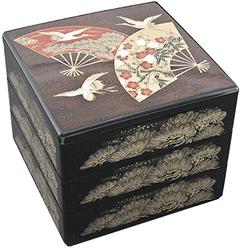 (Japanese Traditional Three Tiered Lacquer Container For Food Serving Stackable With Dividers Asian Home Serving Style 7.5 Inches Square Made in Japan (Black - Fan Design))