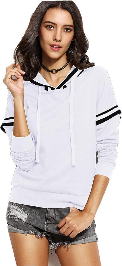 CNFIO - Sudadera de manga larga con capucha y cuello redondo para mujer